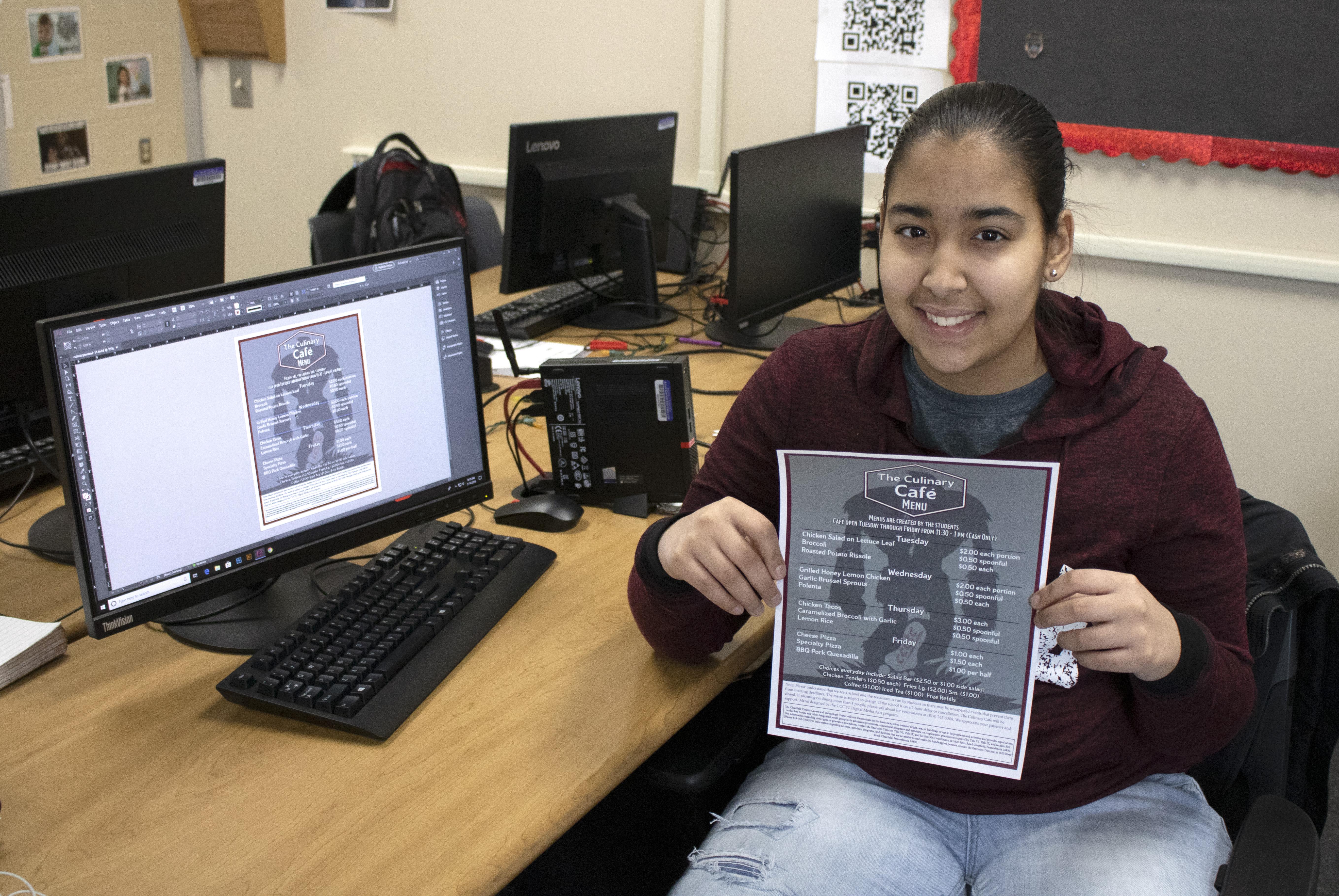 CCCTC Digital Media Arts Student Redesigned Cafe Menu