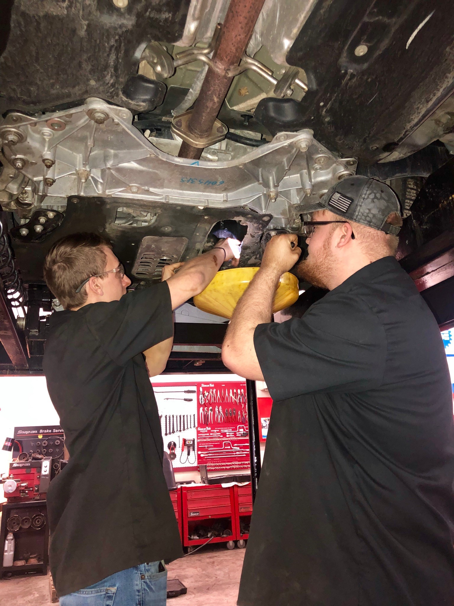 CCCTC Automotive Mechanics' Students Doing Oil Changes and Free Ten Point Inspection