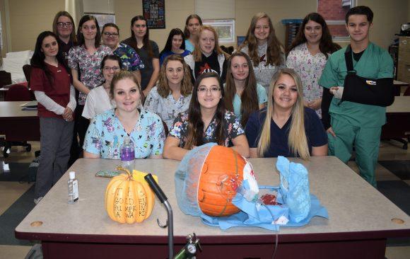 The A.M. Health Occupations Class wins Golden Pumpkin award at CCCTC Fall Open House