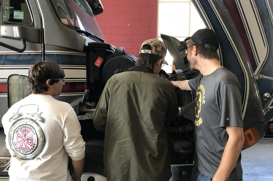 CCCTC Diesel Equipment Maintenance and Repair Students Using Hands-on Training