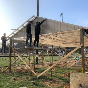 CCCTC Carpentry Students Start Roof on Clearfield Little League Pavilion