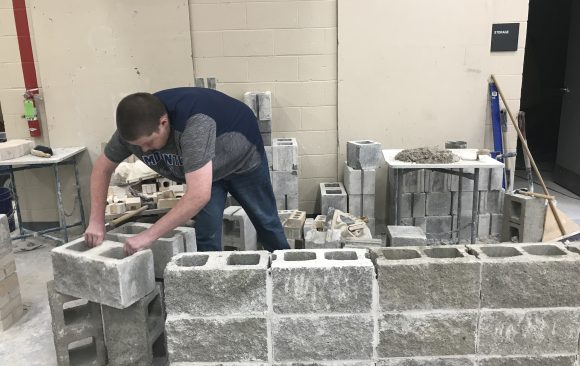 CCCTC Masonry Construction Students Working on Foundations, Arches, and Fireplaces.