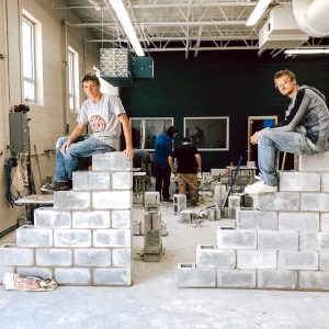 CCCTC Masonry Construction Students Working on Block Leads