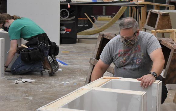 CCCTC Adult Carpentry and Construction Students Learning Drywall Process.