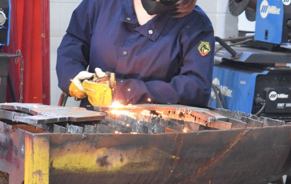 CCCTC Welding and Metal Fabrication Student Practices Torch Cutting