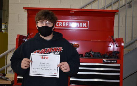 Tristan Evans, CCCTC Collision Student, Earns SP2 Certification
