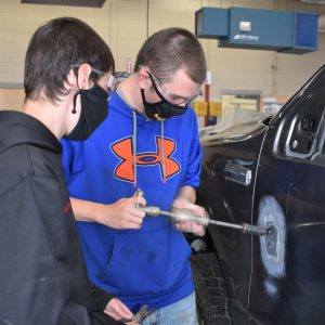 CCCTC Collision Repair Students Training with Tools and Technology Used in Collision Repair Businesses
