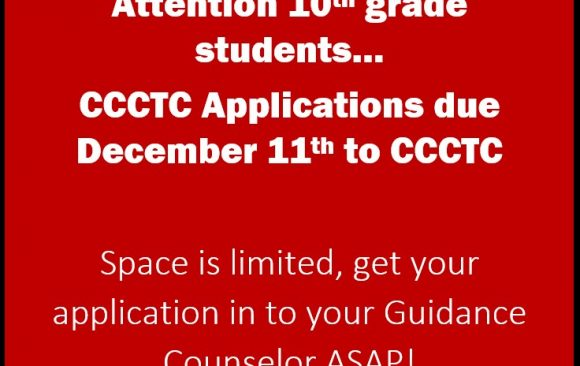 CCCTC Application Deadline Approaching
