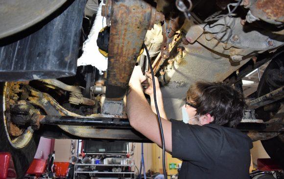 Noah Hoffner, CCCTC Diesel Student, Replacing Starter on a Freightliner Truck