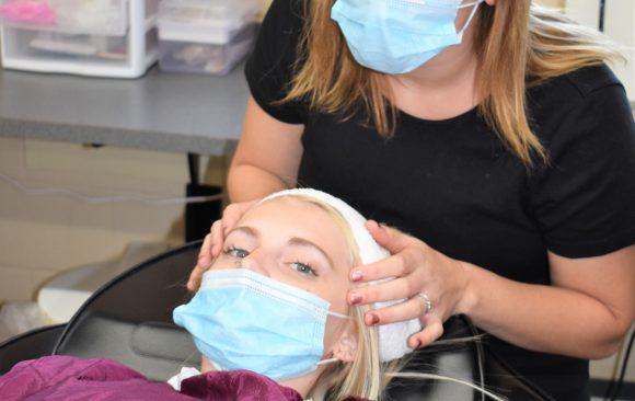 CCCTC Cosmetology Students Learning Esthetics