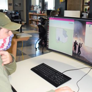 CCCTC Drafting and Design Student, Sam Kolesar, Using 3D Program to Design Project