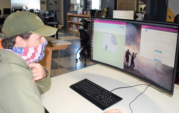 CCCTC Drafting and Design Student, Sam Kolesar, Using 3D Program to Design Project
