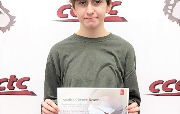 CCCTC Digital Media Arts Student, Madison Reams, Earns Certification