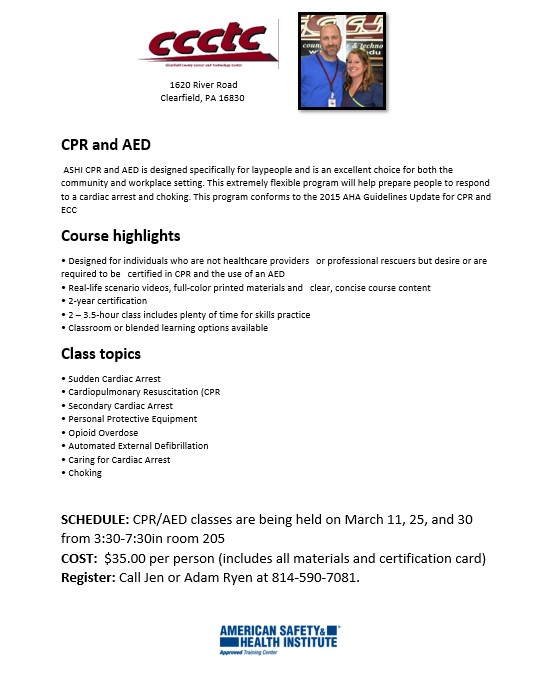 CCCTC is Now Offering CPR/AED Classes