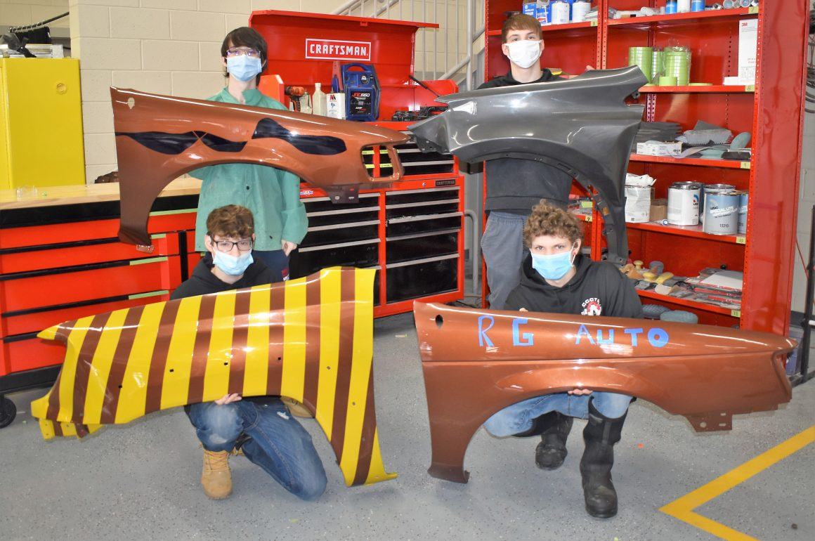 CCCTC Collision Repair Students Working on Paint and Refinish Models