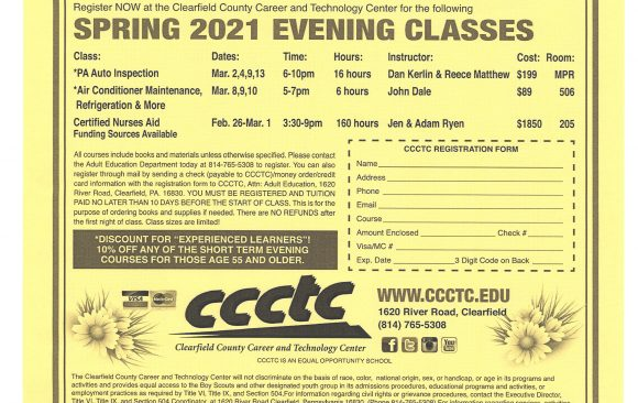 Taking Registration Now for Adult Evening Classes