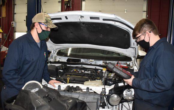 CCCTC Automotive Mechanics Students Offering Battery Testing