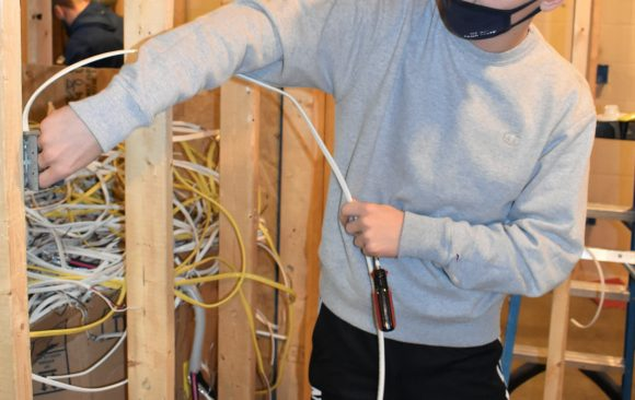 Nolan Barr, CCCTC Electrical Occupations Student, Utilizing Wiring Skills