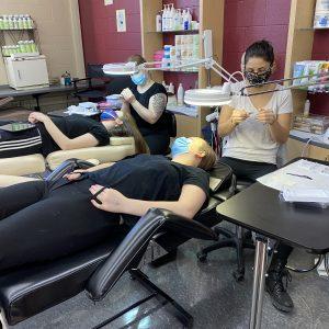 CCCTC AM Cosmetology Students Learn Individual Eyelash Application