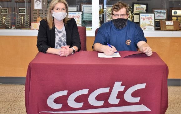 CCCTC Senior, Colby Lewis, Signs Letter of Intent during Career & Technical Letter of Intent Virtual Signing Day