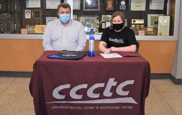 CCCTC Senior, Emma Geyer, Signs Letter of Intent during Career & Technical Letter of Intent Virtual Signing Day