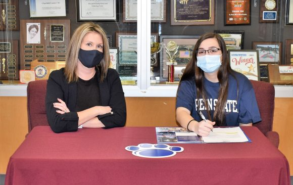 CCCTC Senior, Kara Coval, Signs Letter of Intent during Career & Technical Letter of Intent Virtual Signing Day