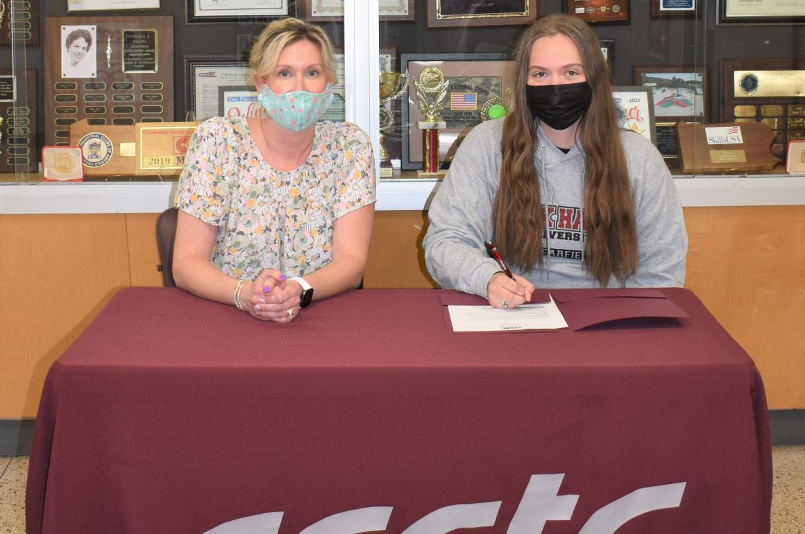 CCCTC Senior, Katelyn Hullihen, Signs Letter of Intent during Career & Technical Letter of Intent Virtual Signing Day
